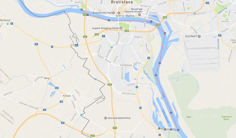 Mapa splavu po Dunaji